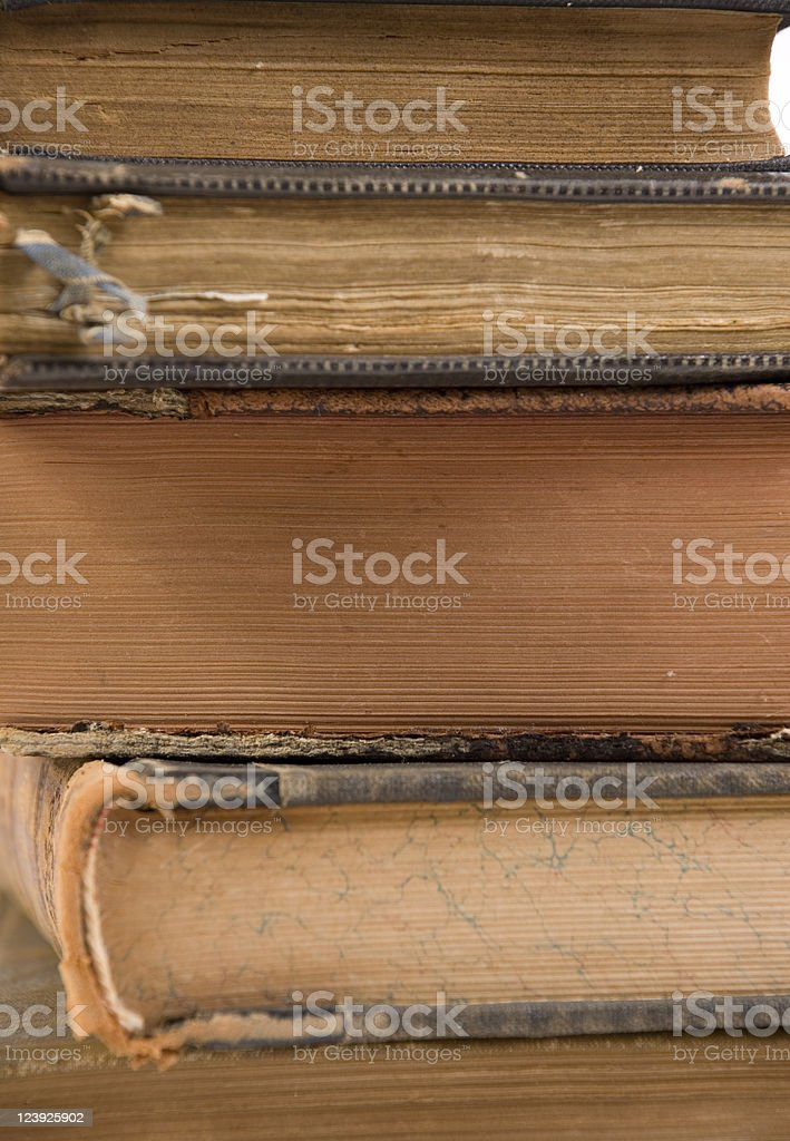 Stacked old books stock photo