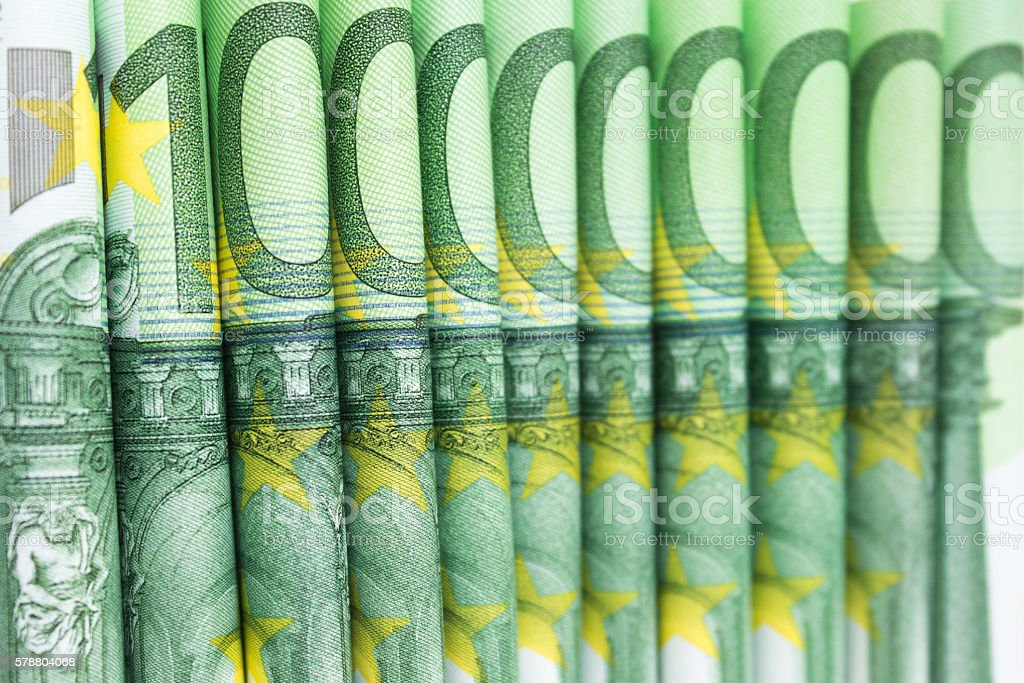 stacked one hundred euro bills , european money stock photo