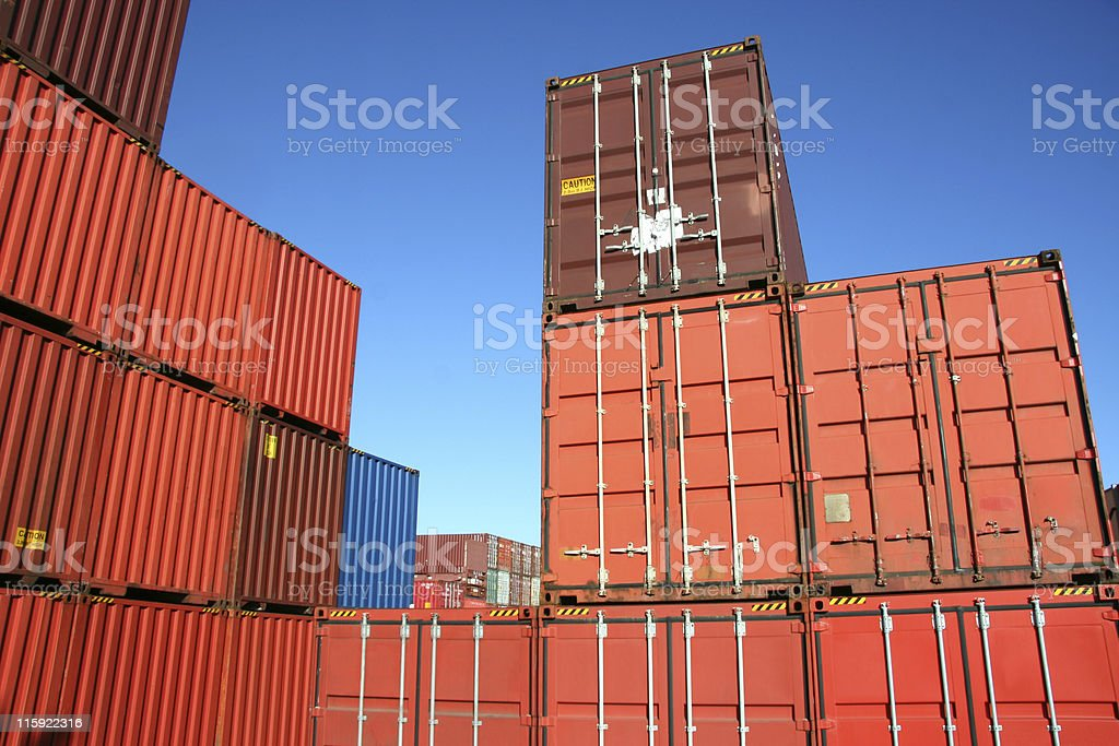 Stacked, Orange Shipment Containers royalty-free stock photo