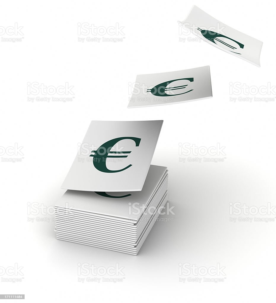 Stacked papers with the Euro symbol royalty-free stock photo
