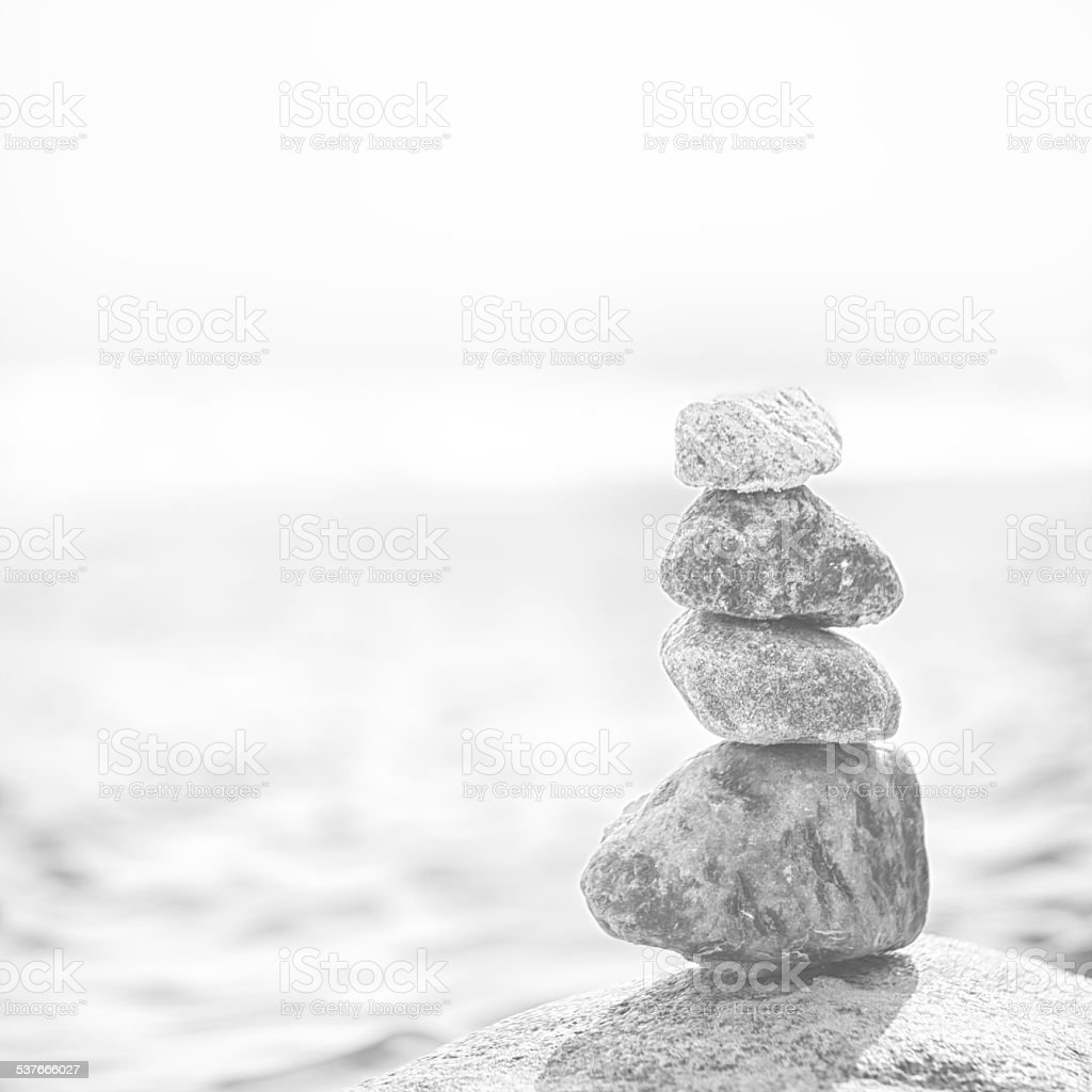 Stacked pebbles stock photo