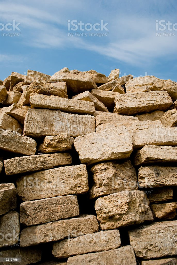 Stacked pile of bricks  under the sky royalty-free stock photo