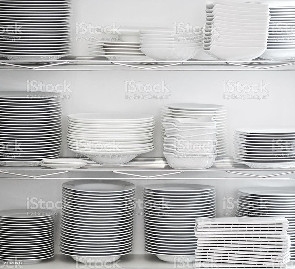 Stacked plates stock photo