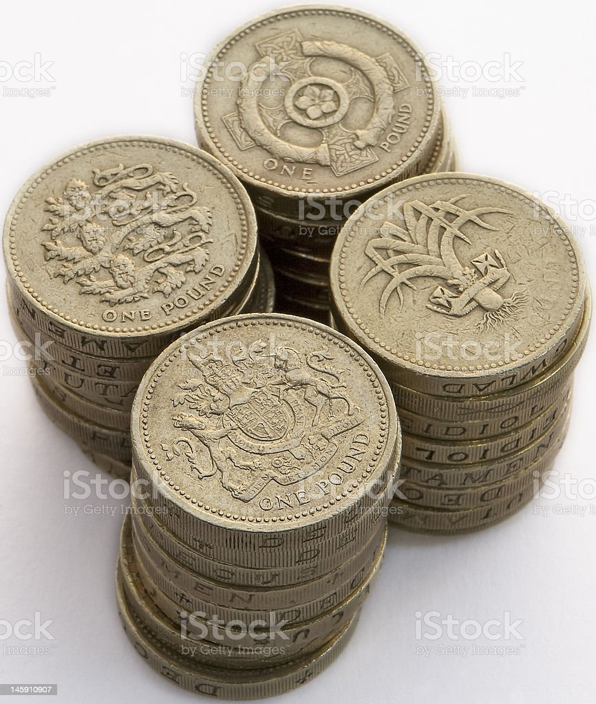 Stacked pound coins close-up royalty-free stock photo