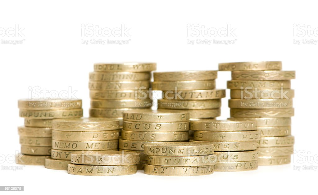 stacked pound coins royalty-free stock photo