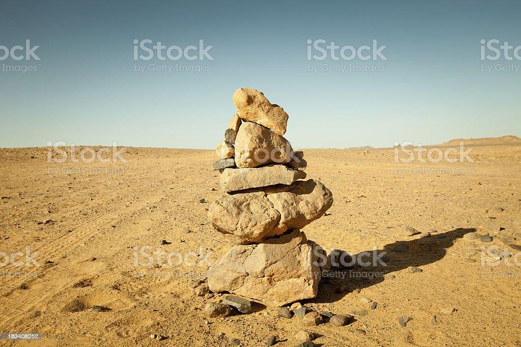 Stacked rocks in Libyan Sahara desert stock photo