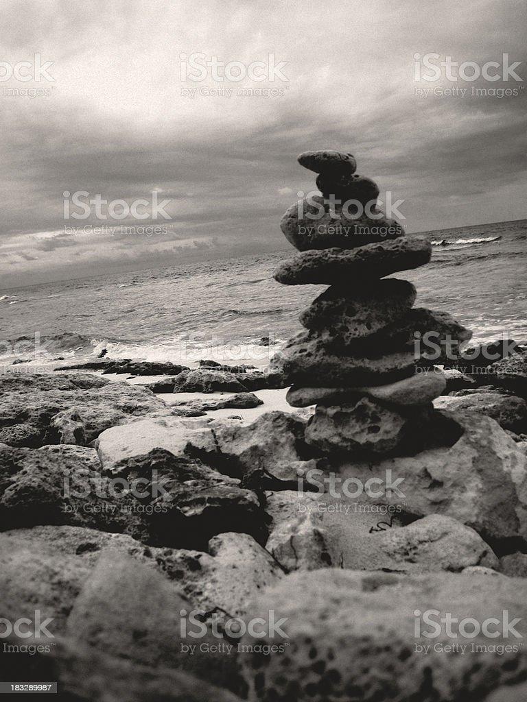 Stacked Rocks on Beach - Eleuthera, Bahamas royalty-free stock photo