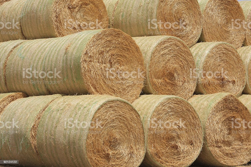 Stacked Round Bales of Hay royalty-free stock photo
