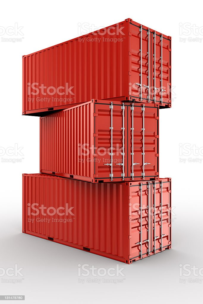 Stacked shipping container stock photo