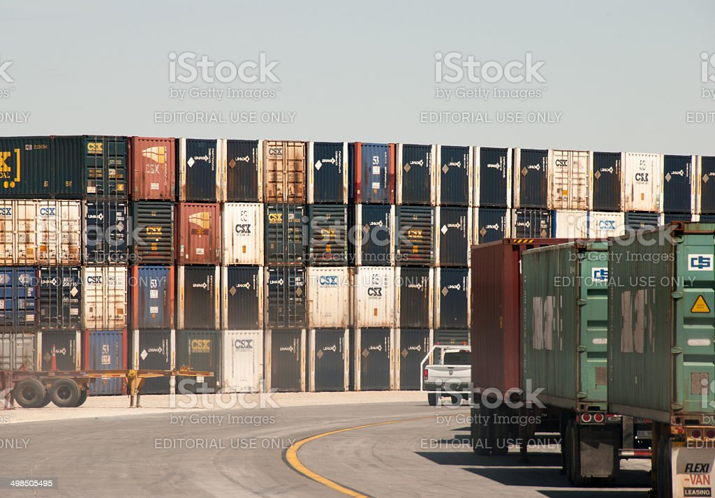 Stacked Shipping Containers stock photo