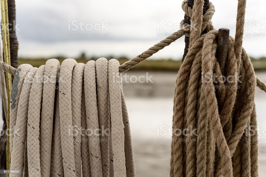 Stacked Shipping Rope in White and Brown stock photo