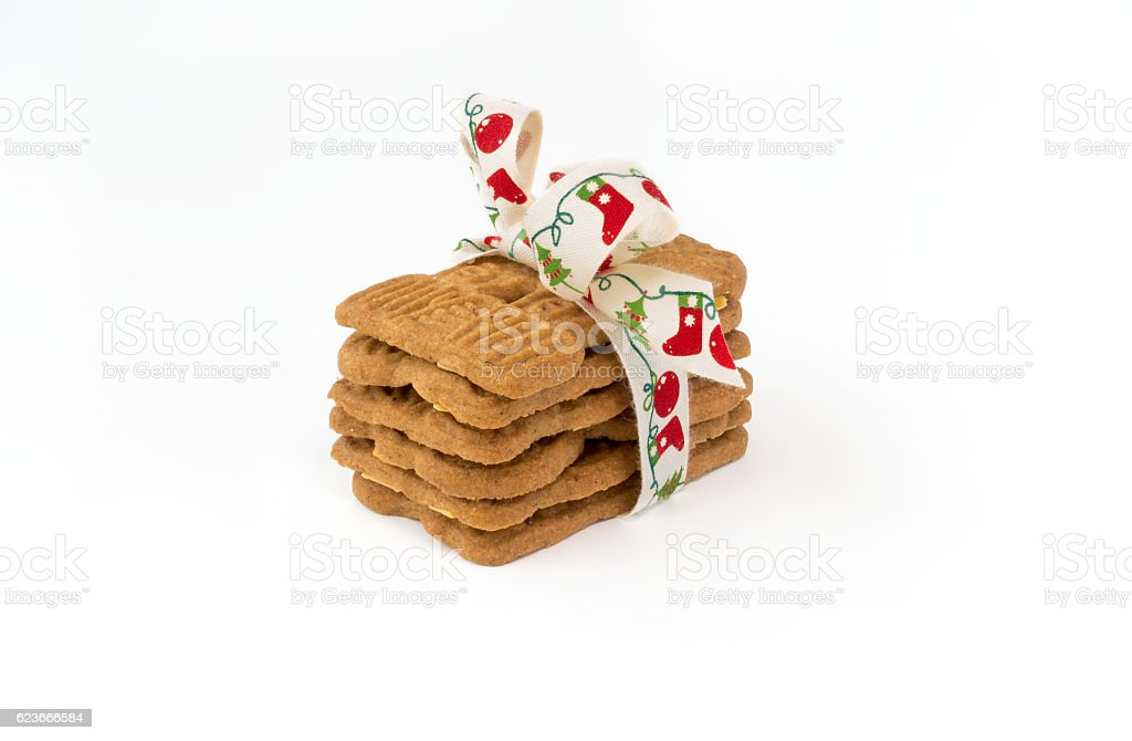 Stacked Spiced Biscuits with Almonds ( Spekulatius ) with Bow stock photo