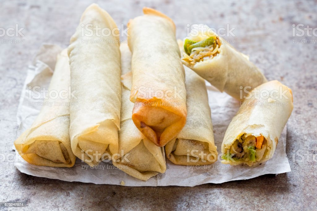 Stacked spring rolls with pork and vegetables stock photo