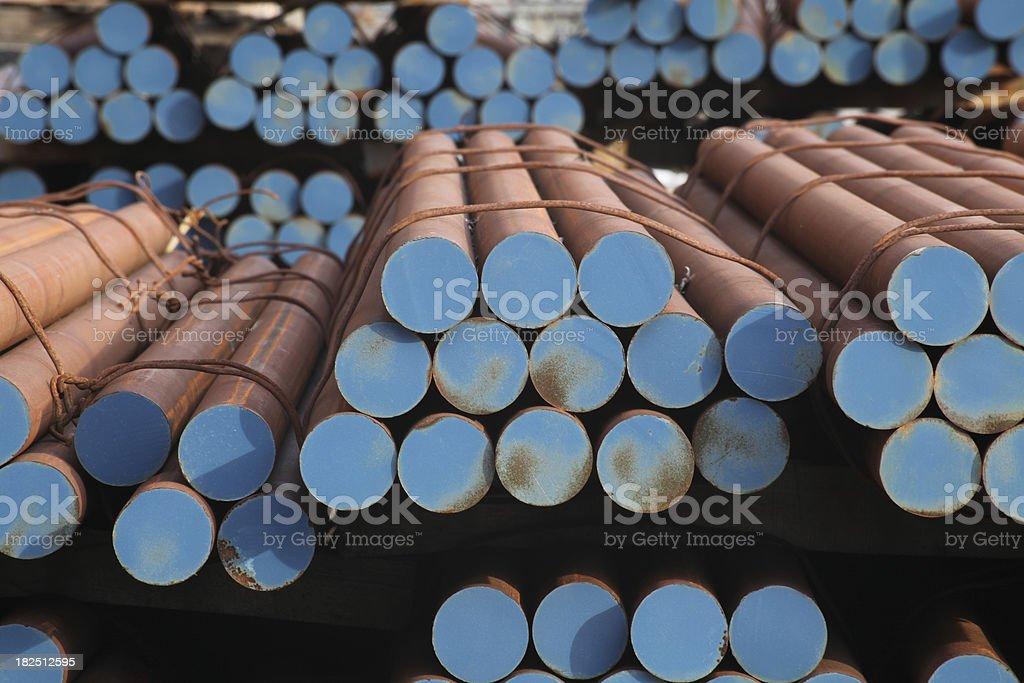 Stacked steel bars stock photo