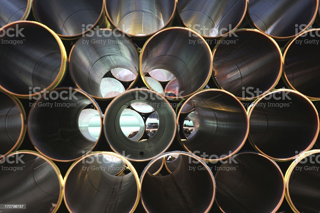 Stacked Steel Pipe Abstract stock photo