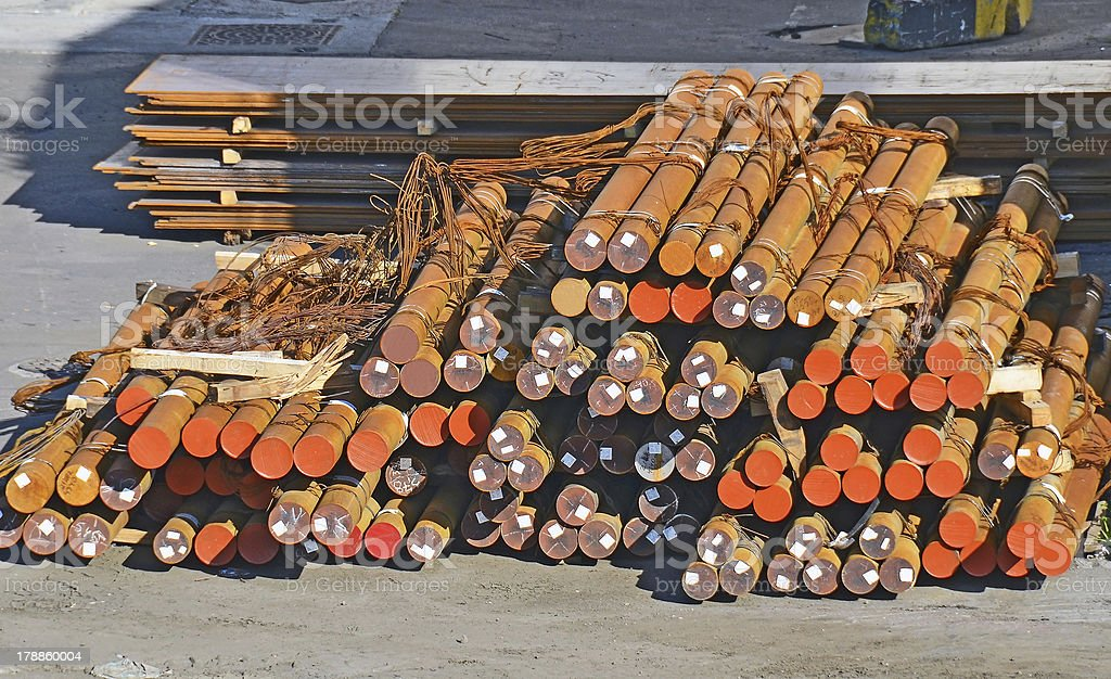 Stacked steel pipe royalty-free stock photo