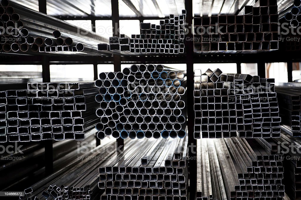 Stacked Steel Pipes royalty-free stock photo