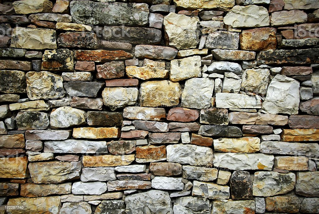 Stacked Stone Wall stock photo