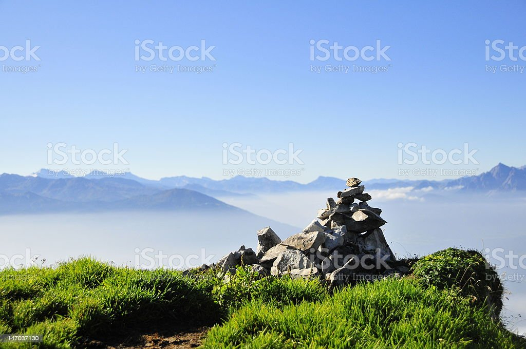 Stacked Stones on top of a mountain royalty-free stock photo