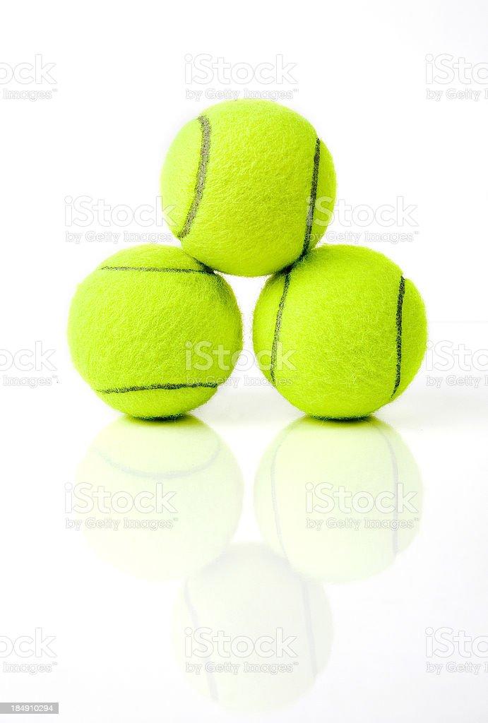 Stacked tennis balls royalty-free stock photo