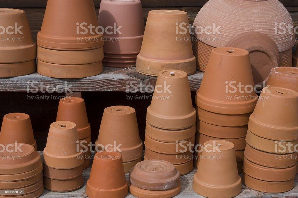 Stacked Terra Cotta Pots stock photo