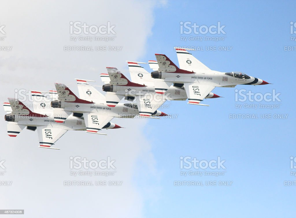 Stacked Thunderbird formation in airshow stock photo