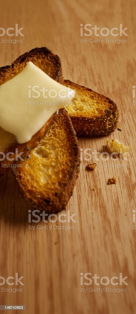 Stacked Toast Topped with Butter royalty-free stock photo