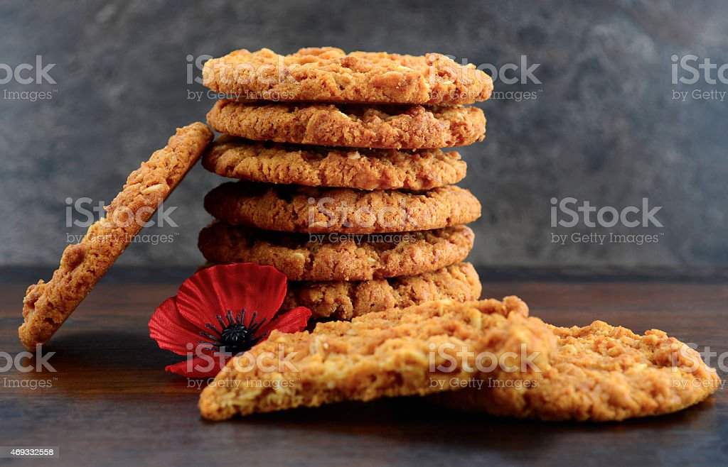 Stacked up Australian Anzac biscuits stock photo