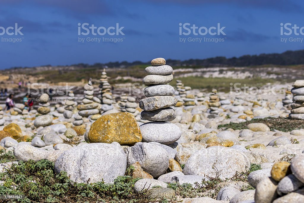 Stacked up stones Pebble Beach Monterey royalty-free stock photo