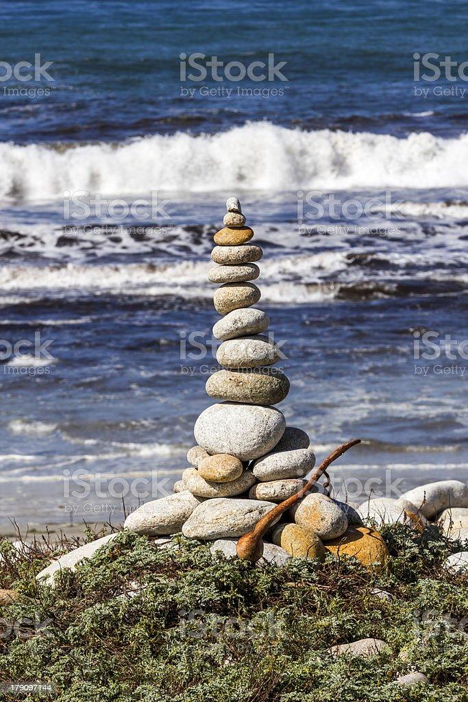 Stacked up stones Pebble Beach Monterey stock photo