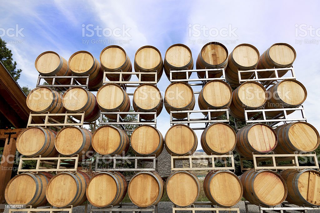 Stacked Wine Barrels stock photo