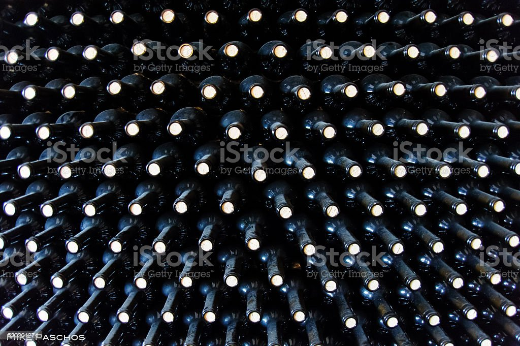 Stacked wine botles stock photo