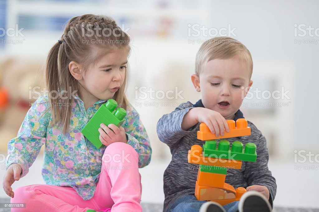 Stacking Blocks Together stock photo
