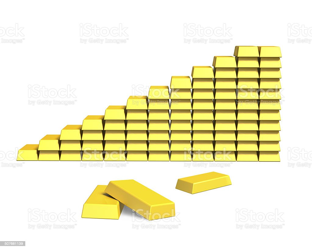 Stacking bullions in stairs shape stock photo