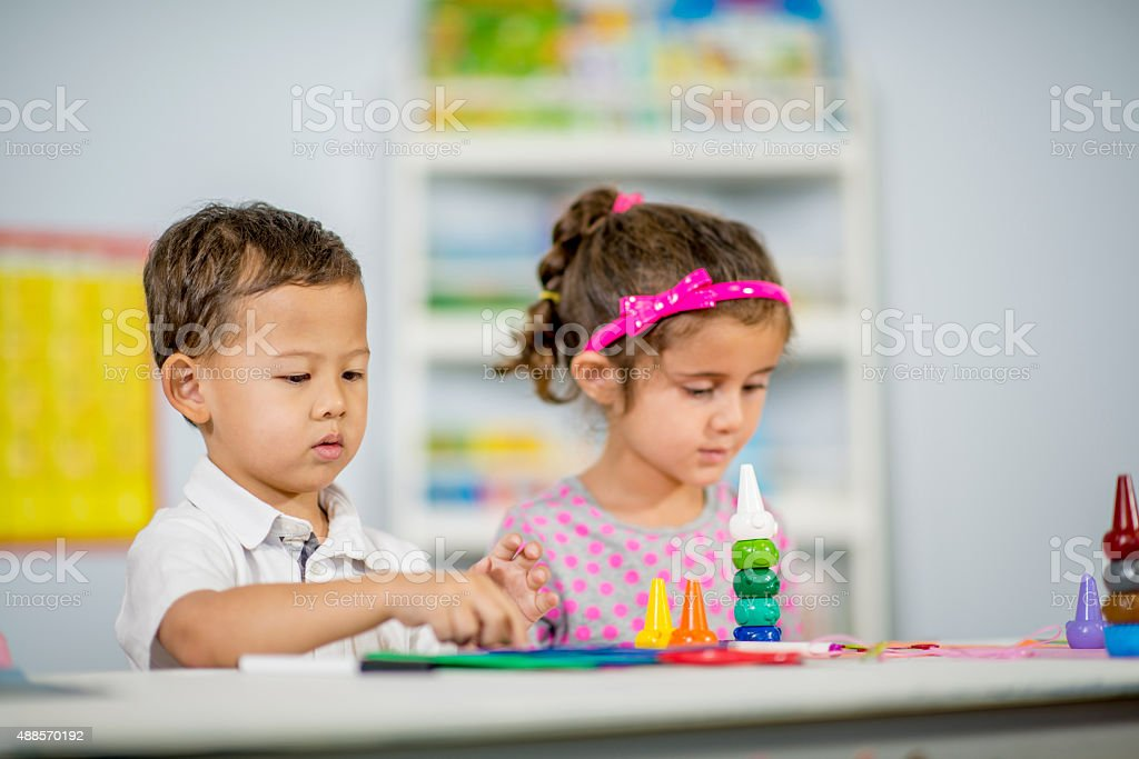 Stacking Colorful Toys at School stock photo