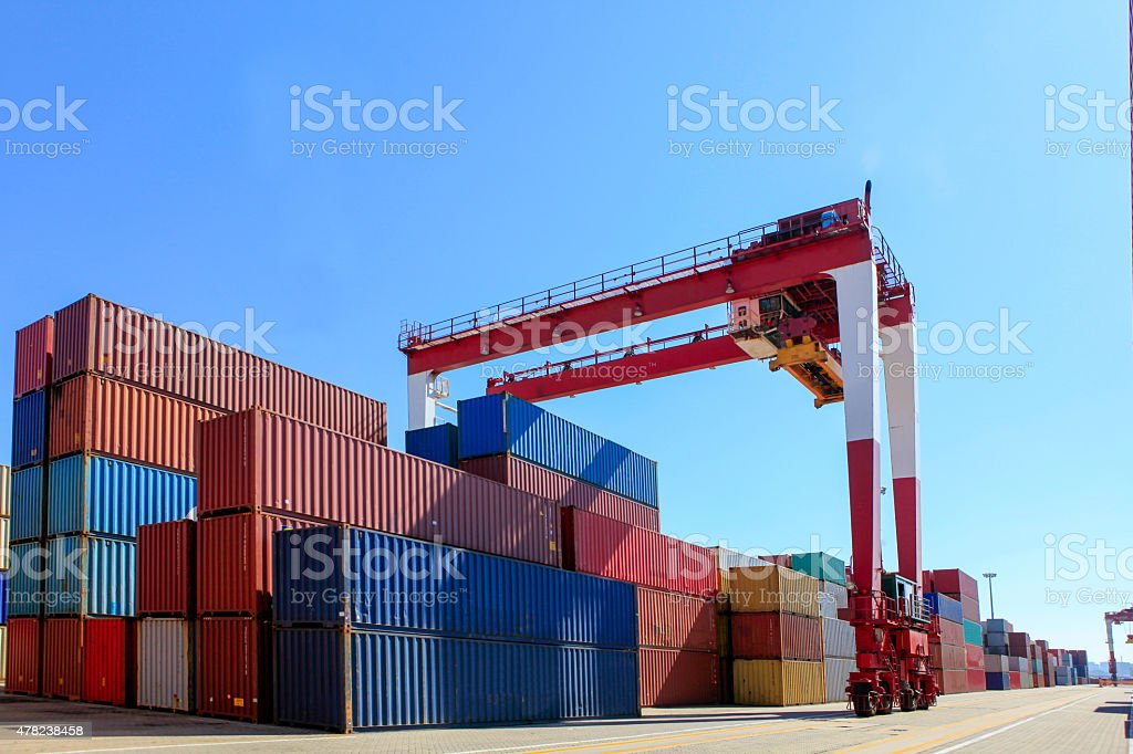 Stacking containers stock photo