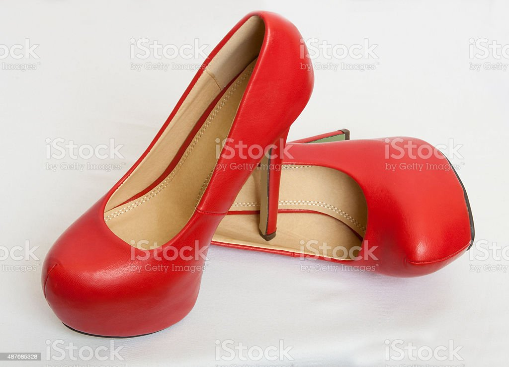 stacking red shoes, footwear stock photo