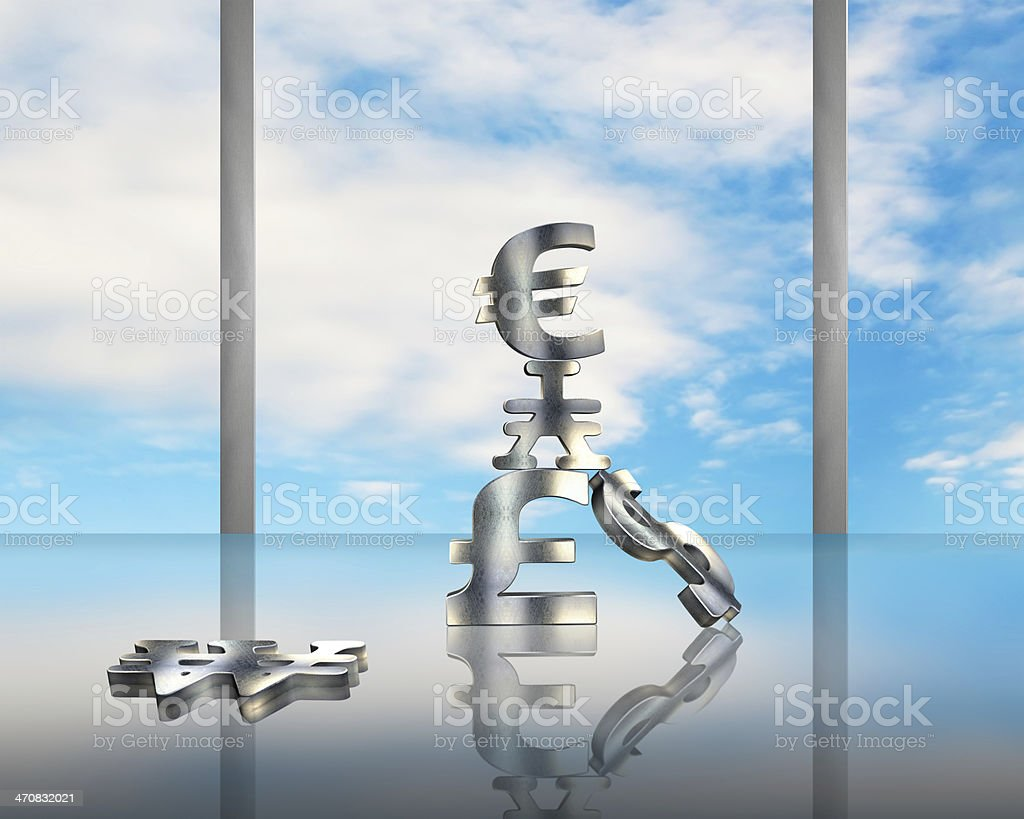 Stacking sliver money symbols on glass table with blue sky royalty-free stock photo