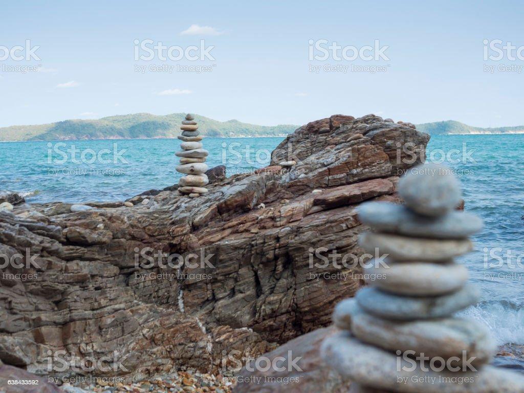 stacking stone on rock bedding, Khao Laem Ya national park, stock photo