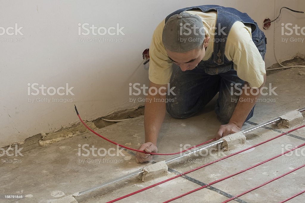 Stacking system warm floor stock photo