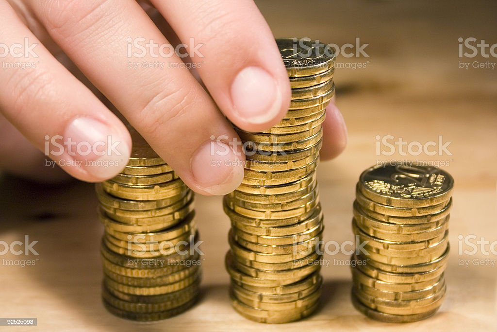Stacking Up Coins #1 royalty-free stock photo