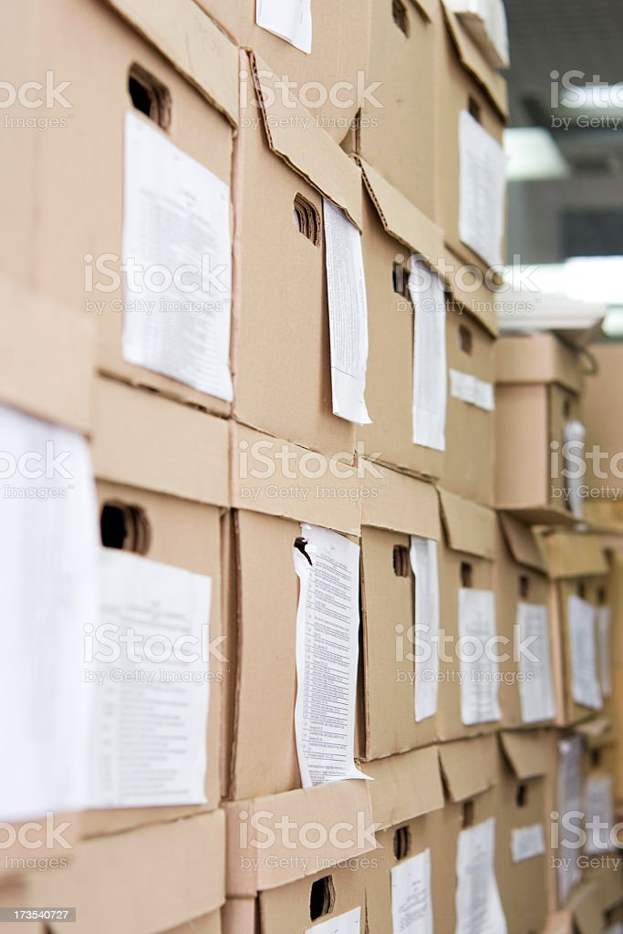 Stacks and stacks of stores file boxes royalty-free stock photo