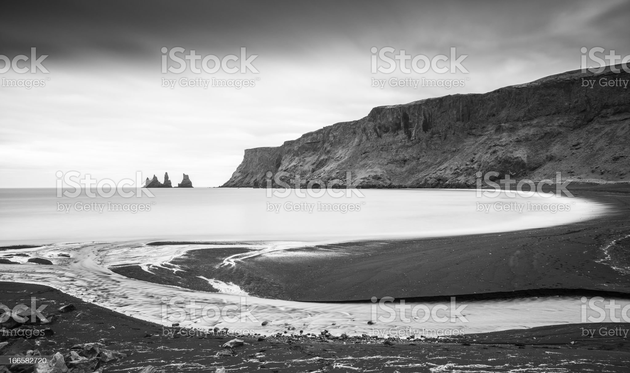 Stacks from the Beach at Vik, Iceland - Long Exposure royalty-free stock photo