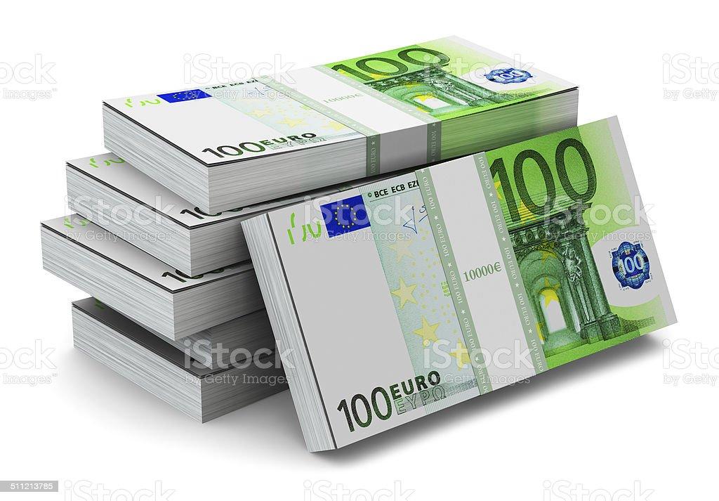 Stacks of 100 Euro banknotes stock photo