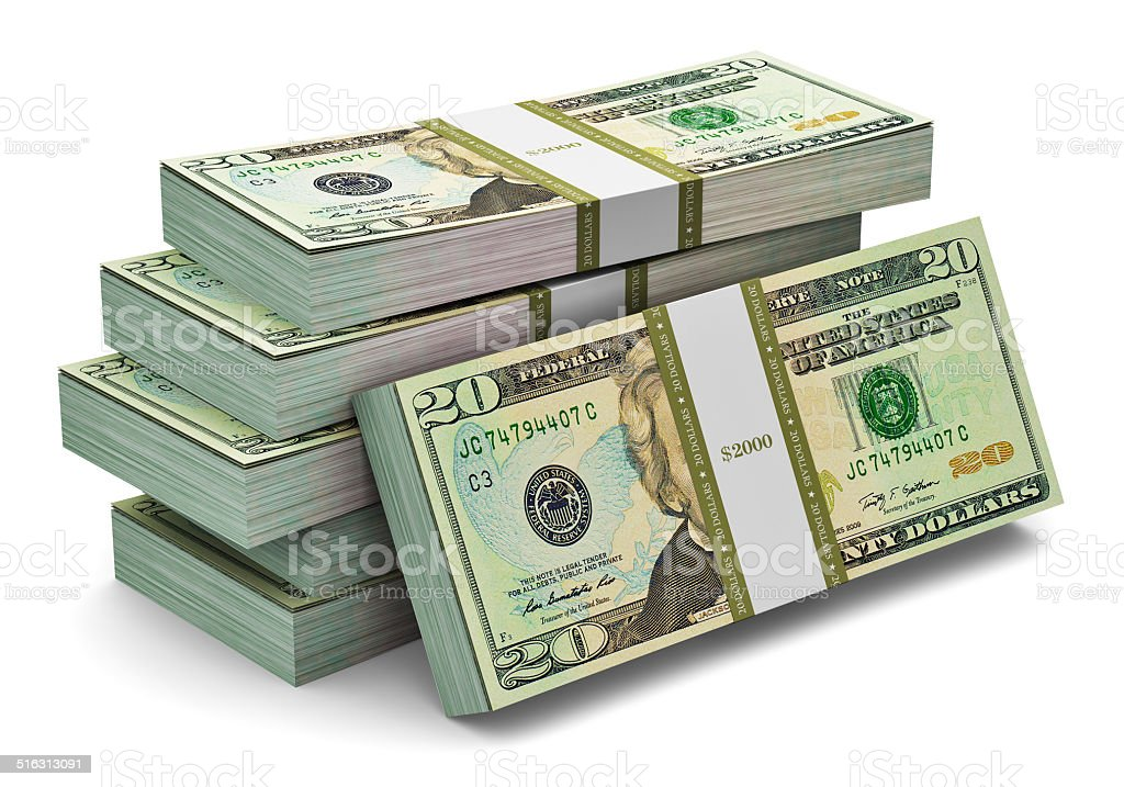 Stacks of 20 dollars banknotes stock photo