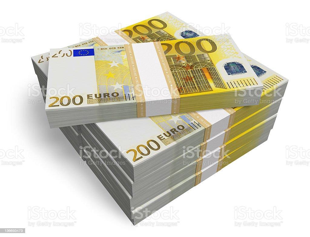 Stacks of 200 Euro banknotes royalty-free stock photo