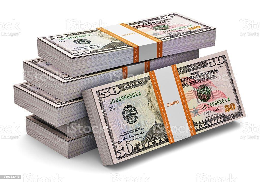 Stacks of 50 dollars banknotes stock photo