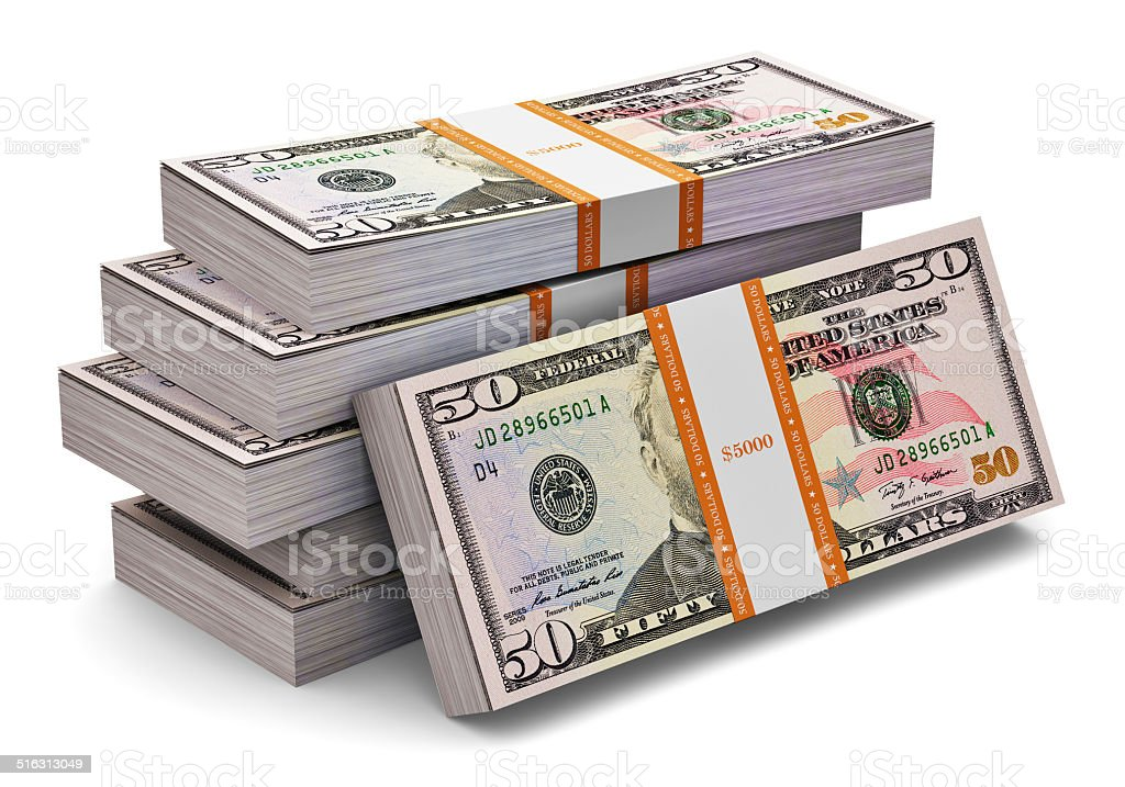 Stacks of 50 dollars banknotes stock photo