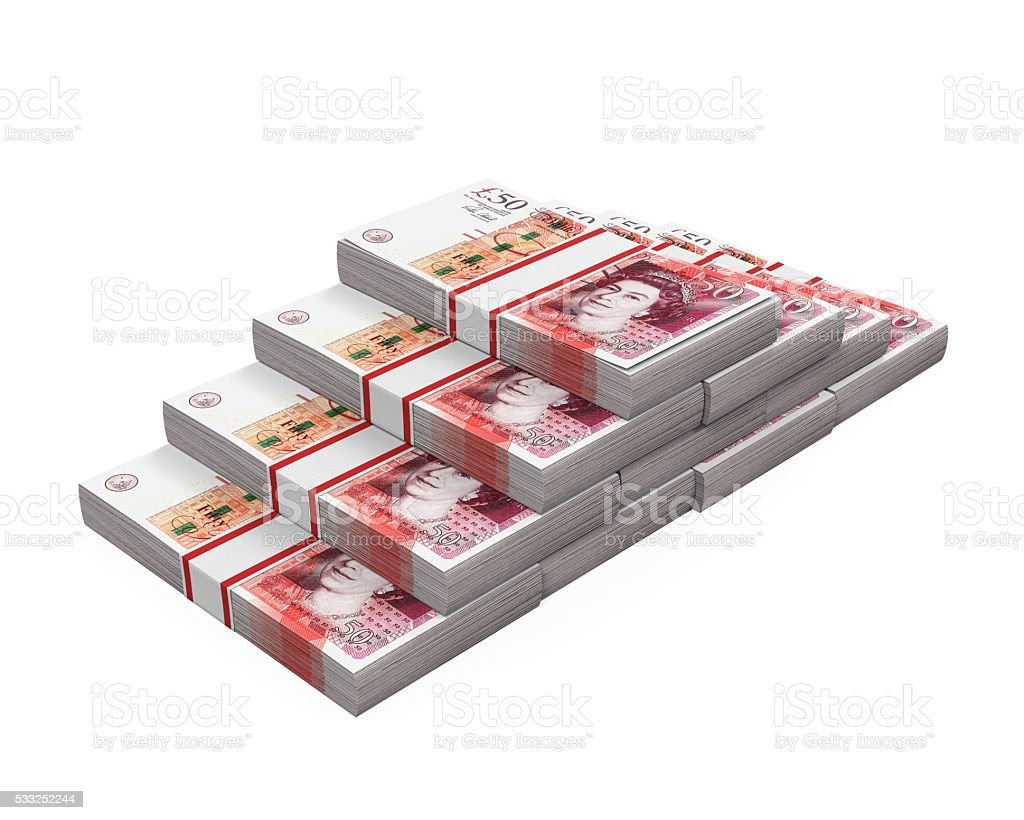 Stacks of 50 Pound Banknotes stock photo