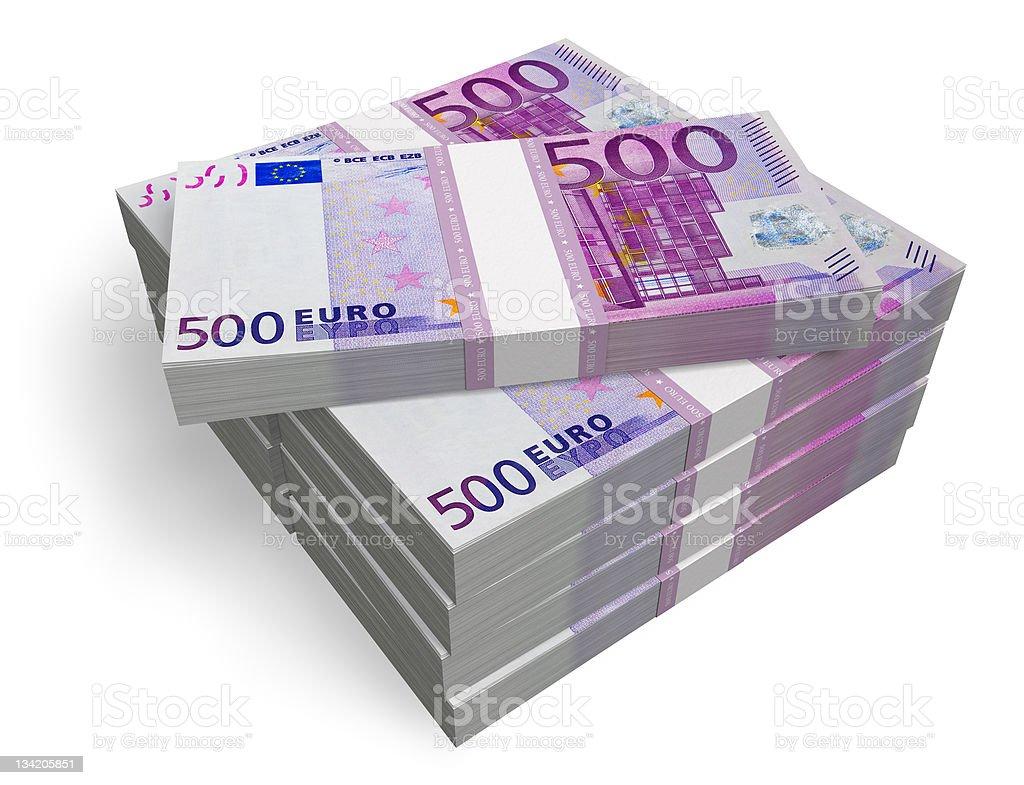 Stacks of 500 Euro banknotes stock photo